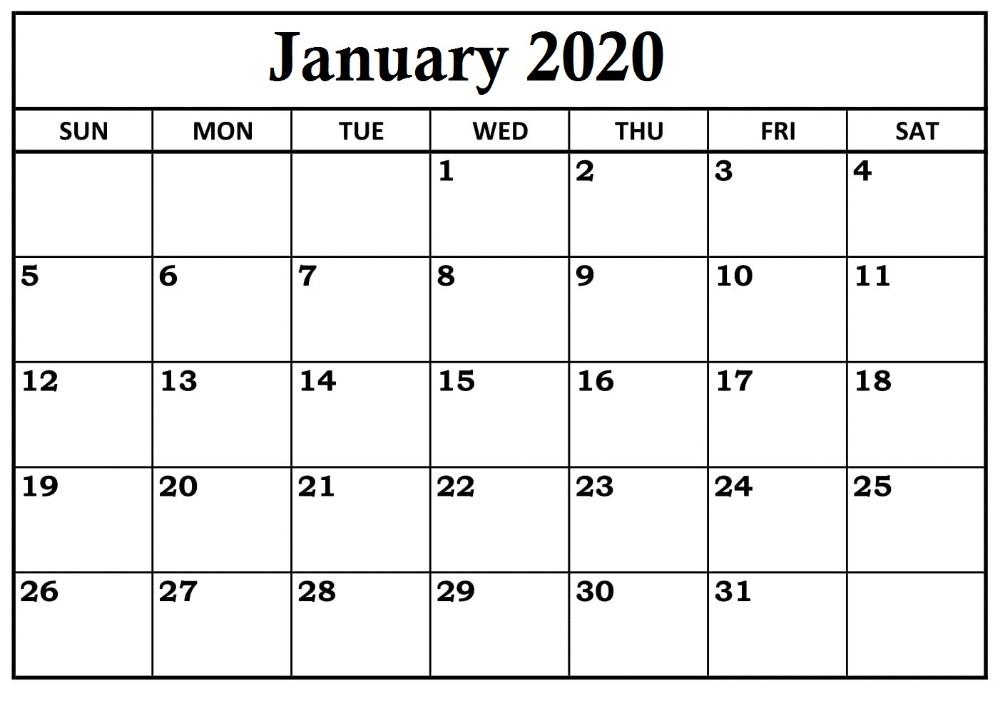 Landscape Free January 2020 Calendar Usa | Printable