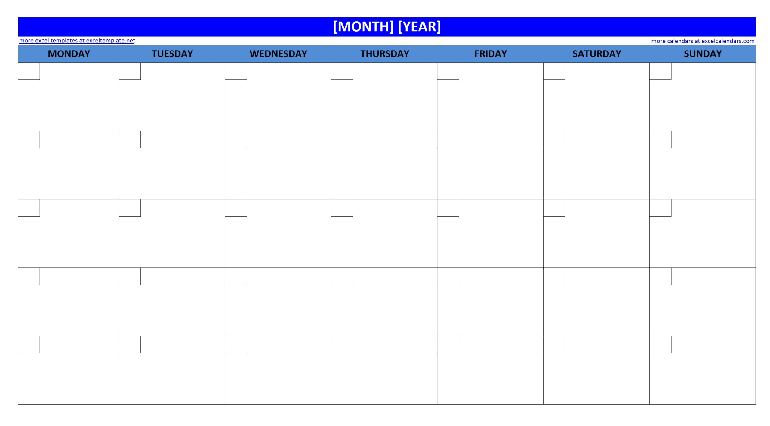 Large Box Grid Calendar Printable | Example Calendar Printable