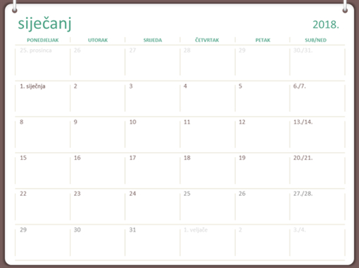 Lipanj 2018. Kalendar | Download 2020 Calendar Printable