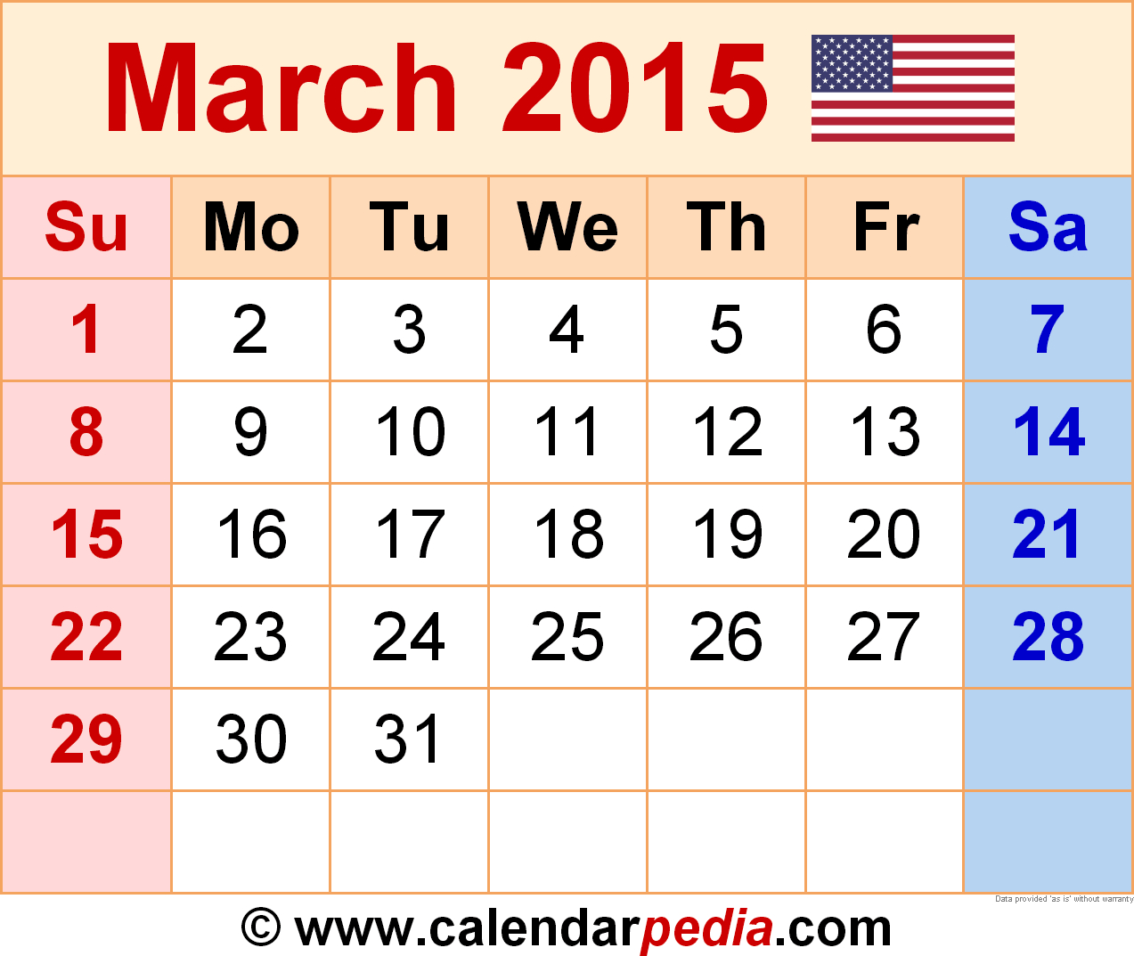 March 2015 - Calendar Templates For Word, Excel And Pdf