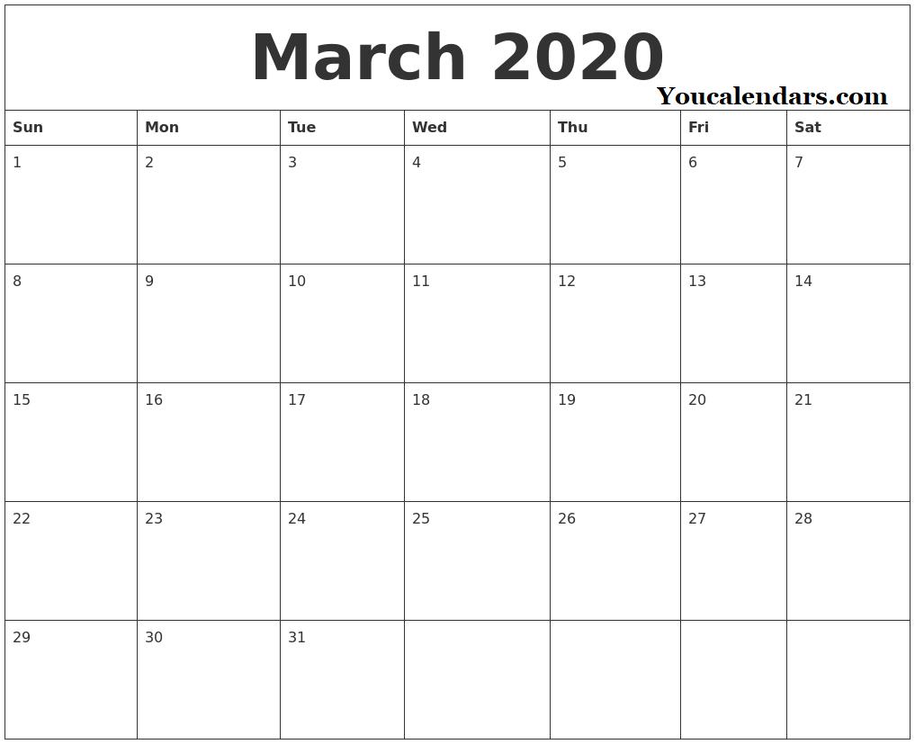 March 2020 Calendar Excel Editable Template - You Calendars