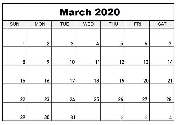 March 2020 Calendar Template In 2020 | Calendar Printables