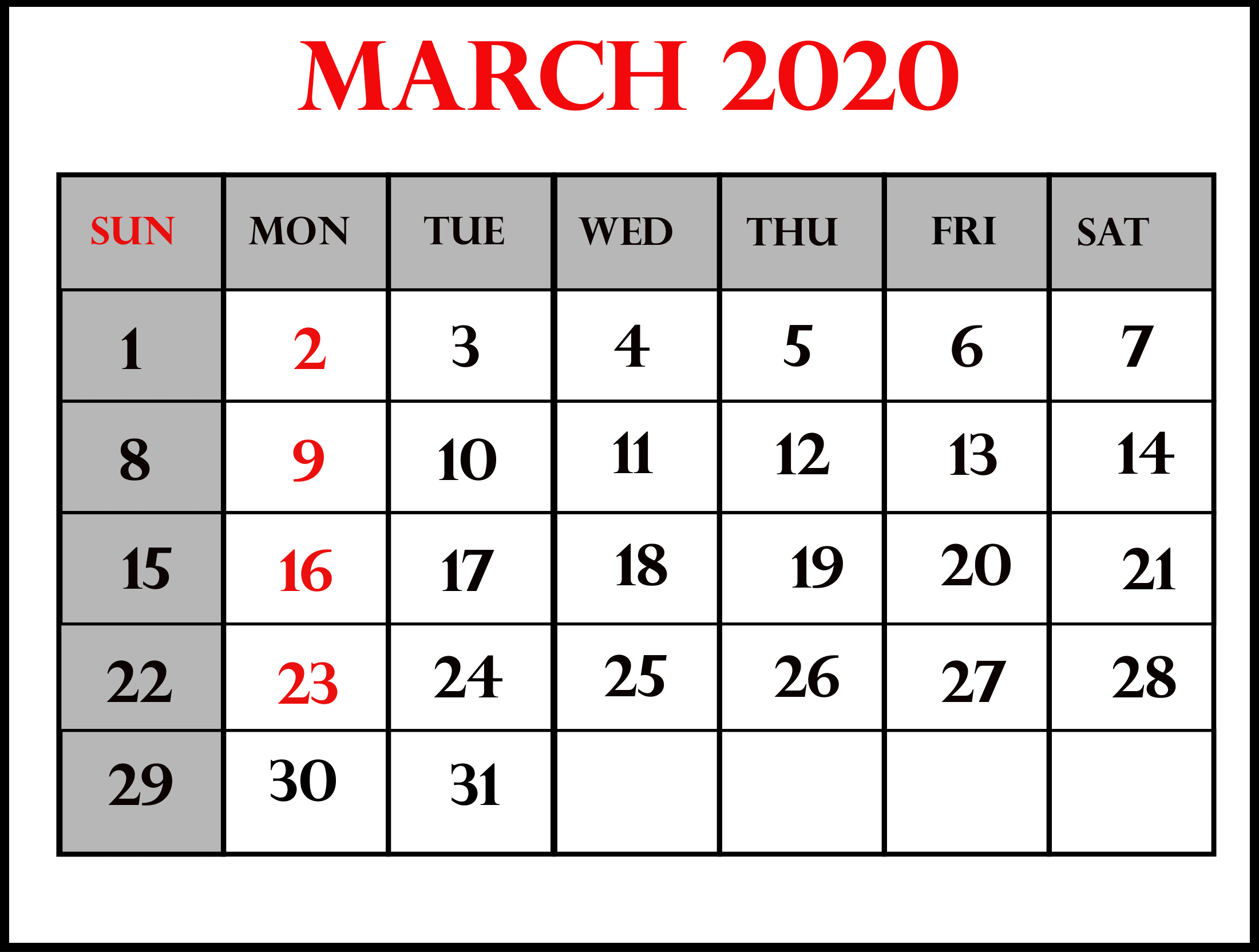 March 2020 Calendar Us Federal Holidays List | Free