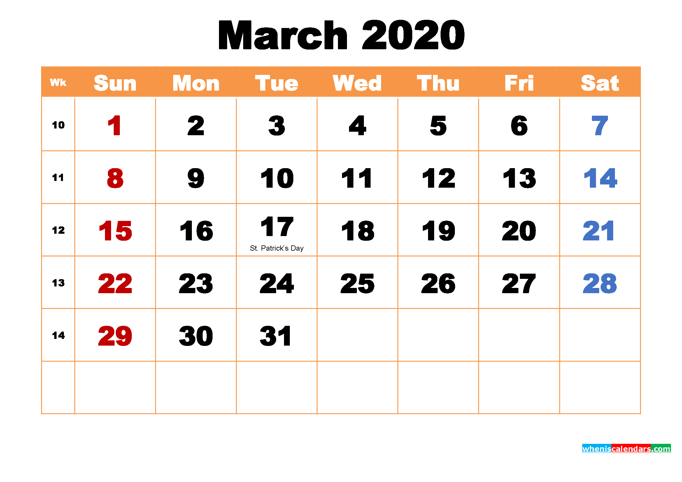 March 2020 Printable Monthly Calendar With Holidays – Free