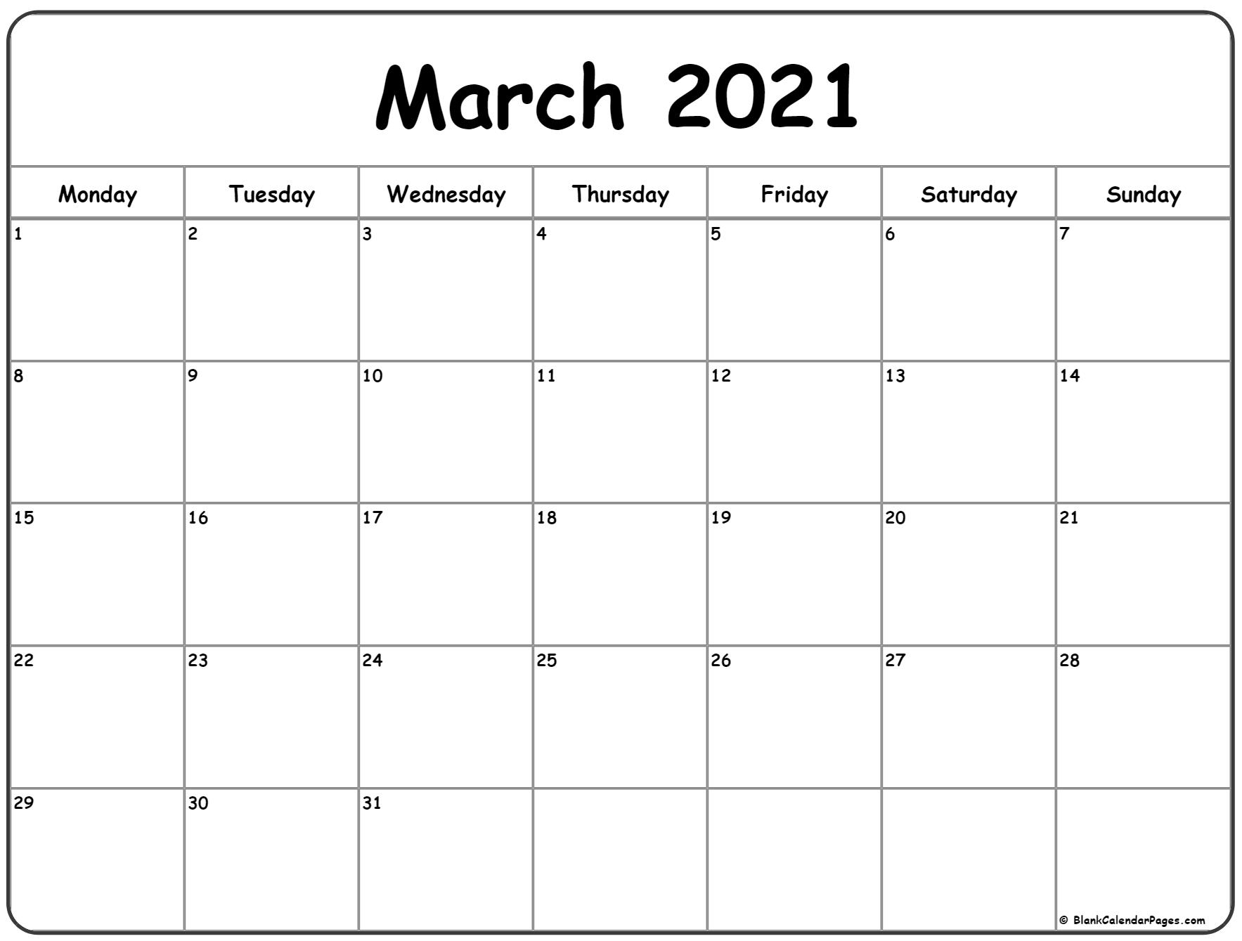 March 2021 Monday Calendar | Monday To Sunday