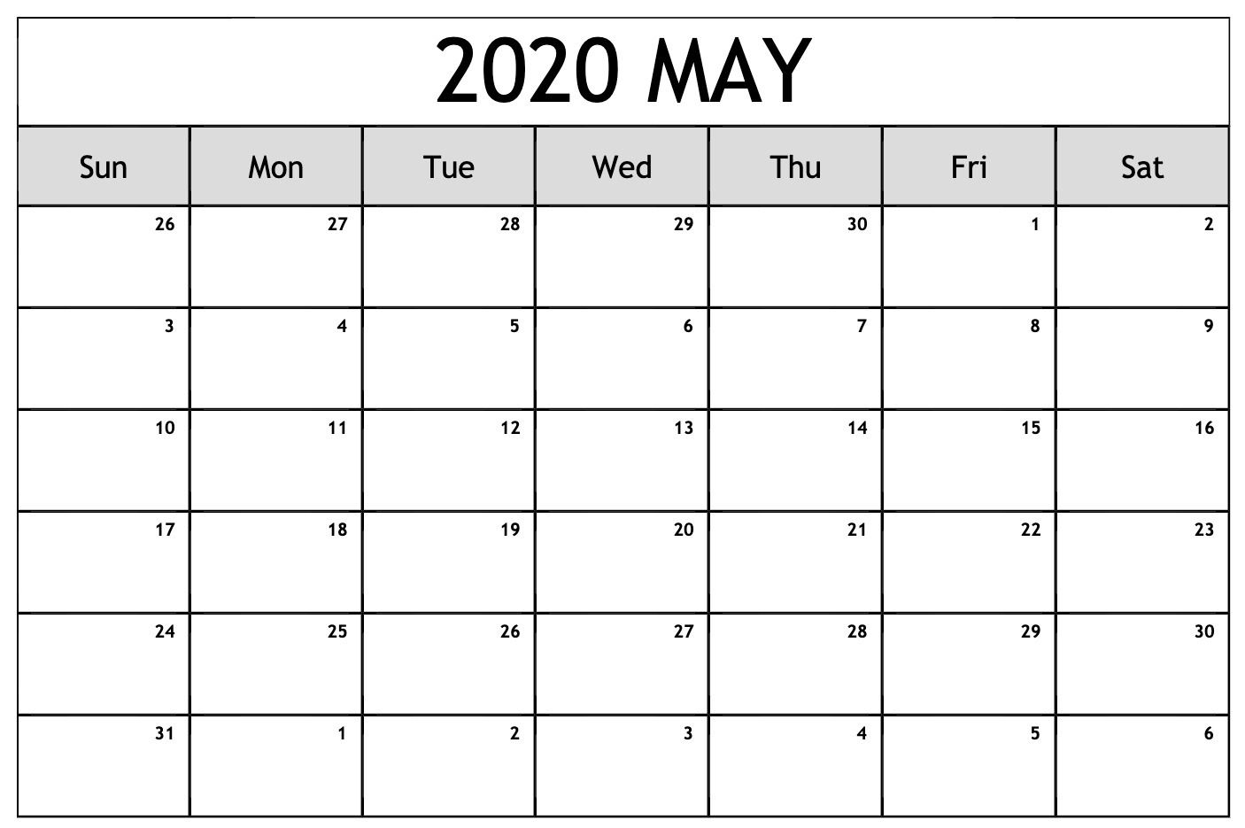 May 2020 Calendar Pdf, Excel, Word Printable Templates
