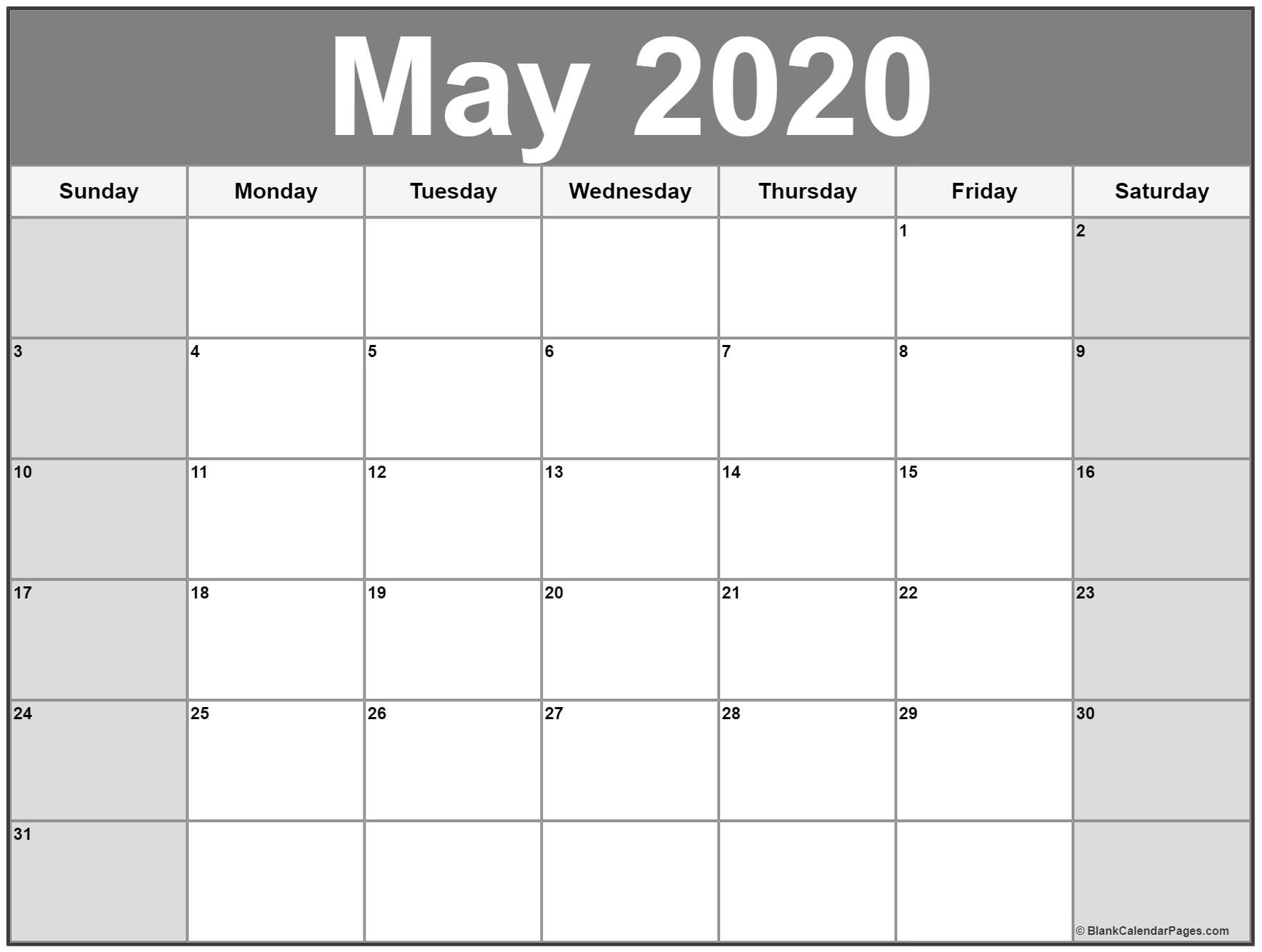May 2020 Calendar Printable Landscape Monday Thru Friday