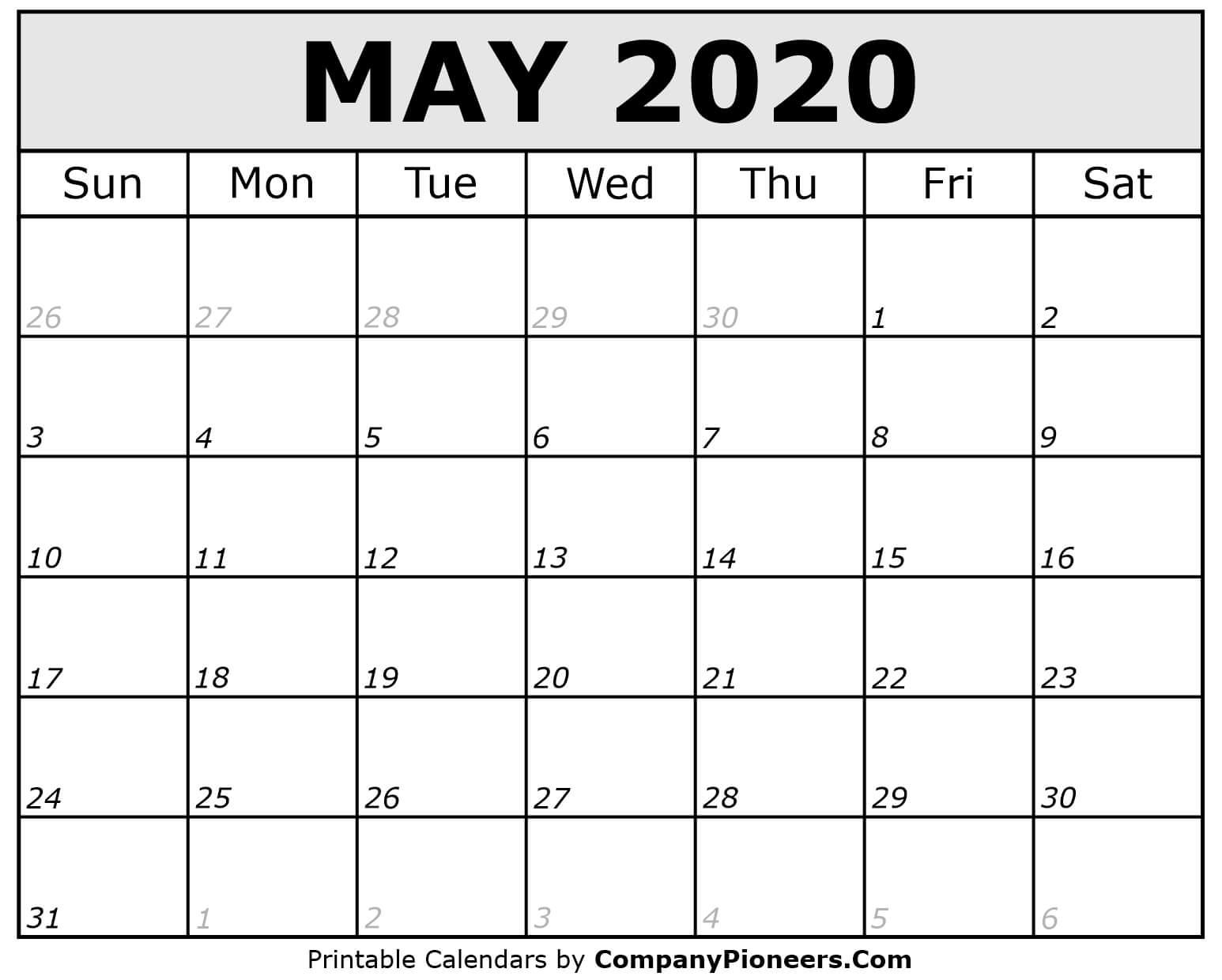 May 2020 Calendar Printable - Printable 2020 Calendars