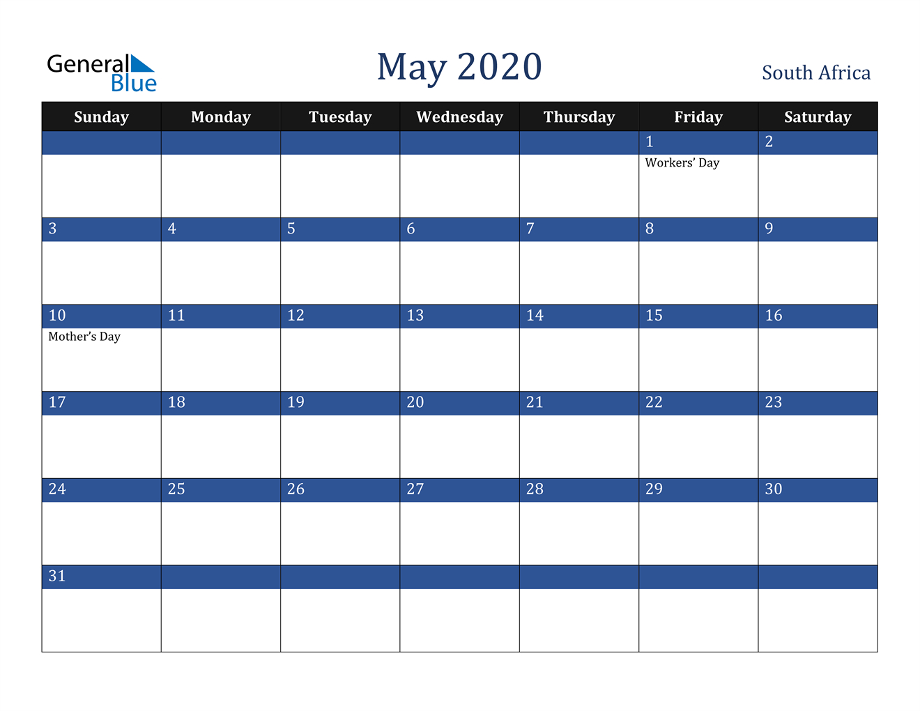 May 2020 Calendar - South Africa