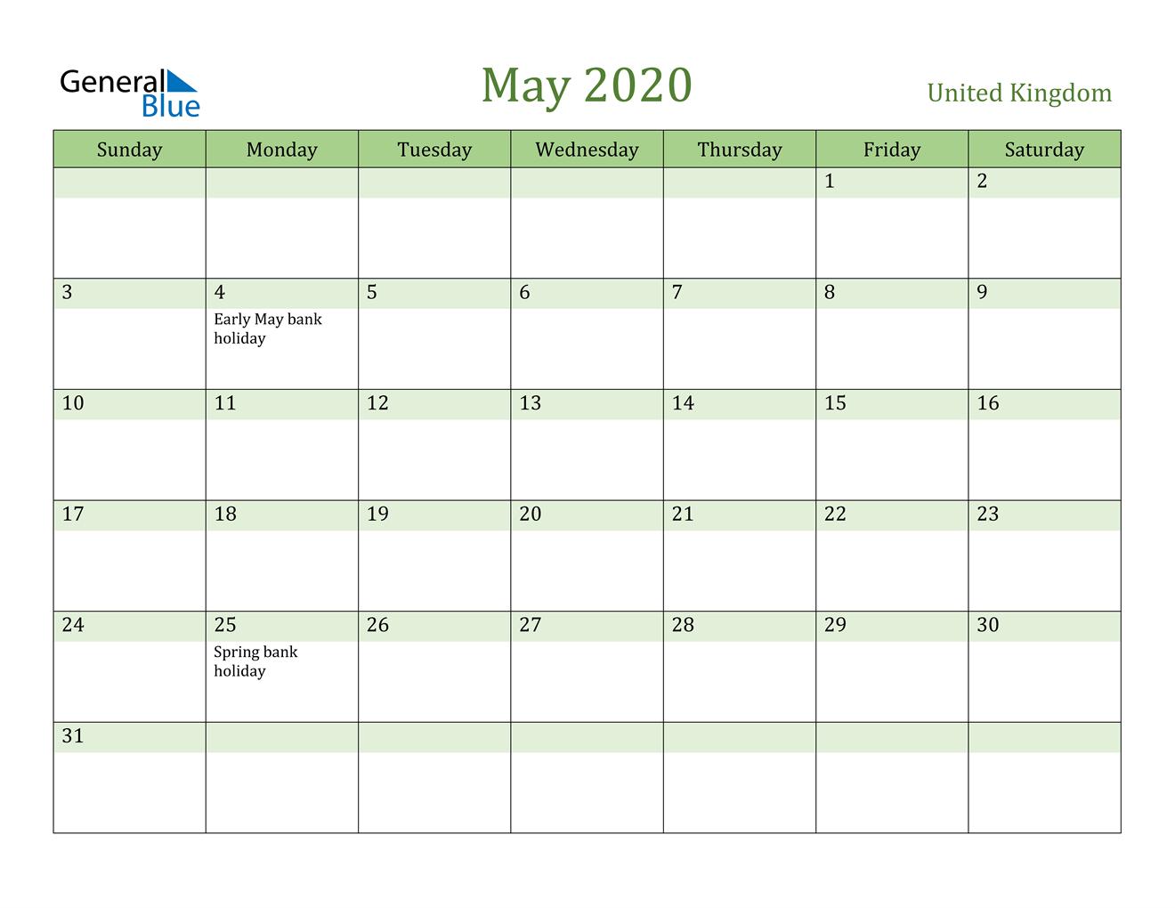 May 2020 Calendar - United Kingdom