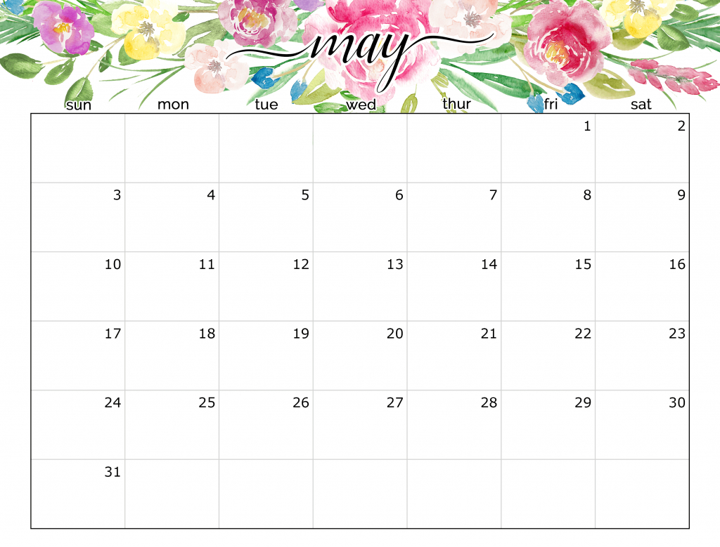 May 2020 Calendar With Holidays Printable Dates - All Day
