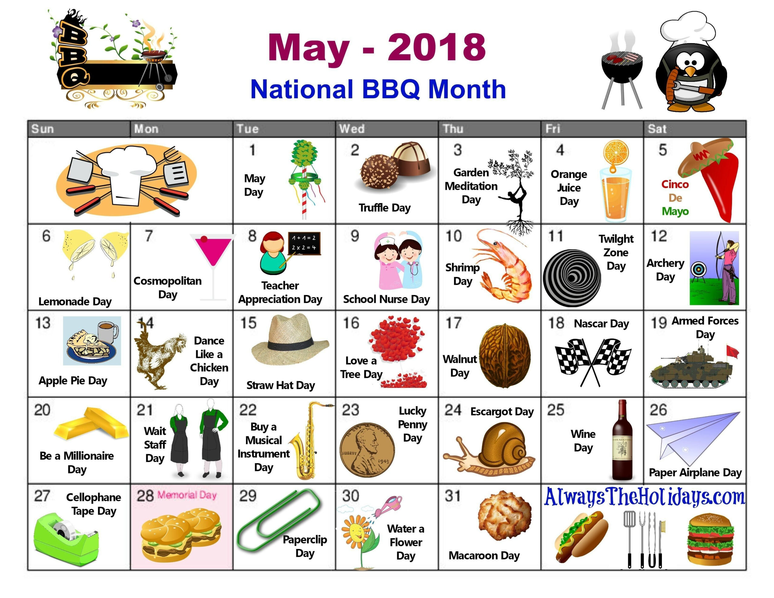 May National Day Calendar Free Printable Always The