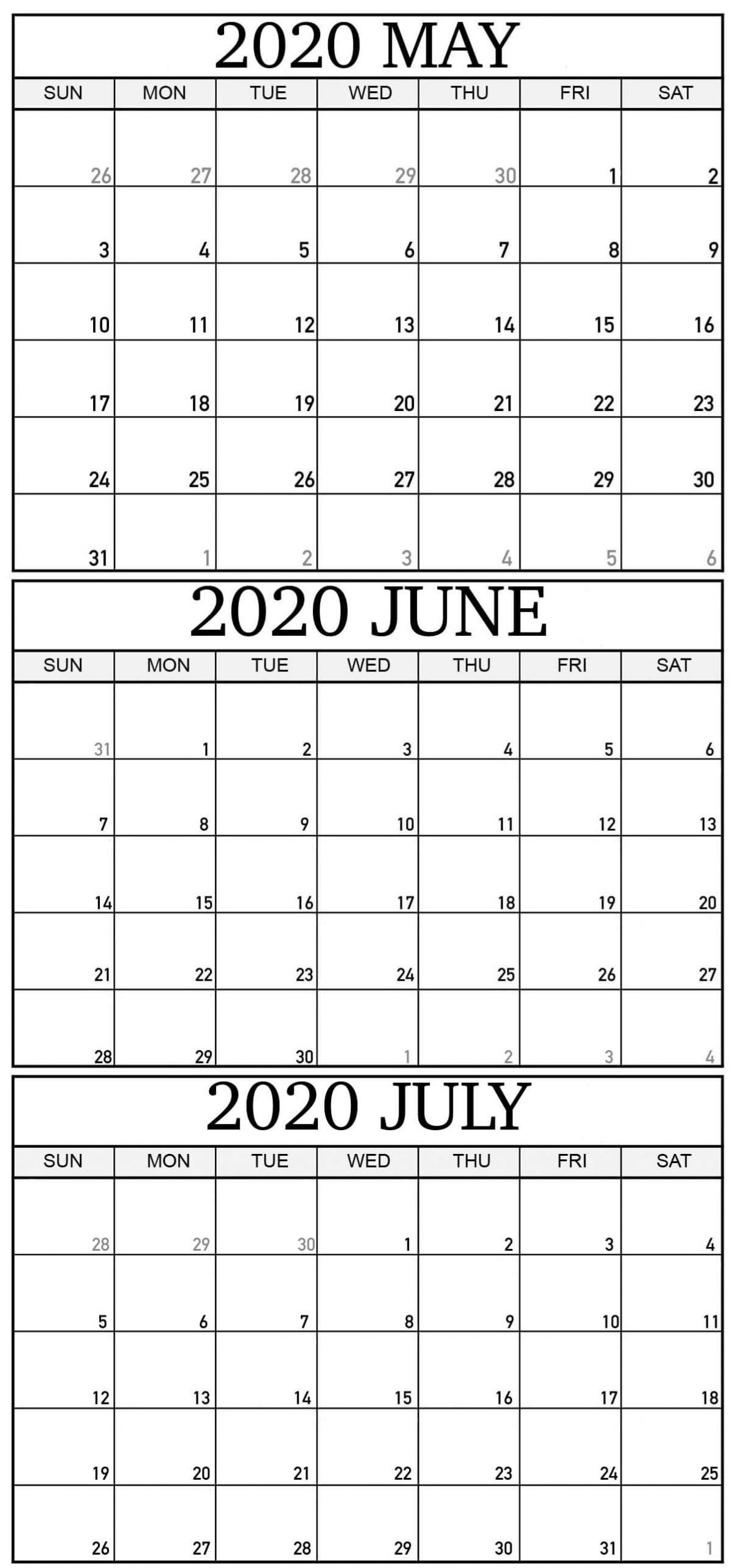 May To July Calendar 2020 Pdf Word Template - One Platform