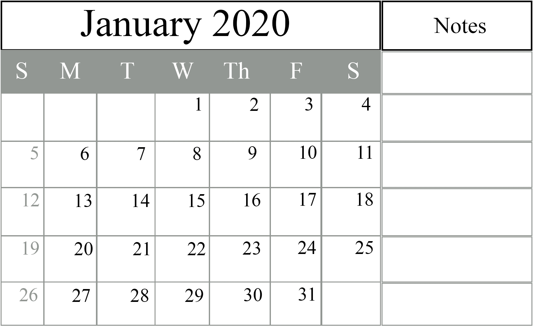 Military Julian Calendar 2020 Printable – Template