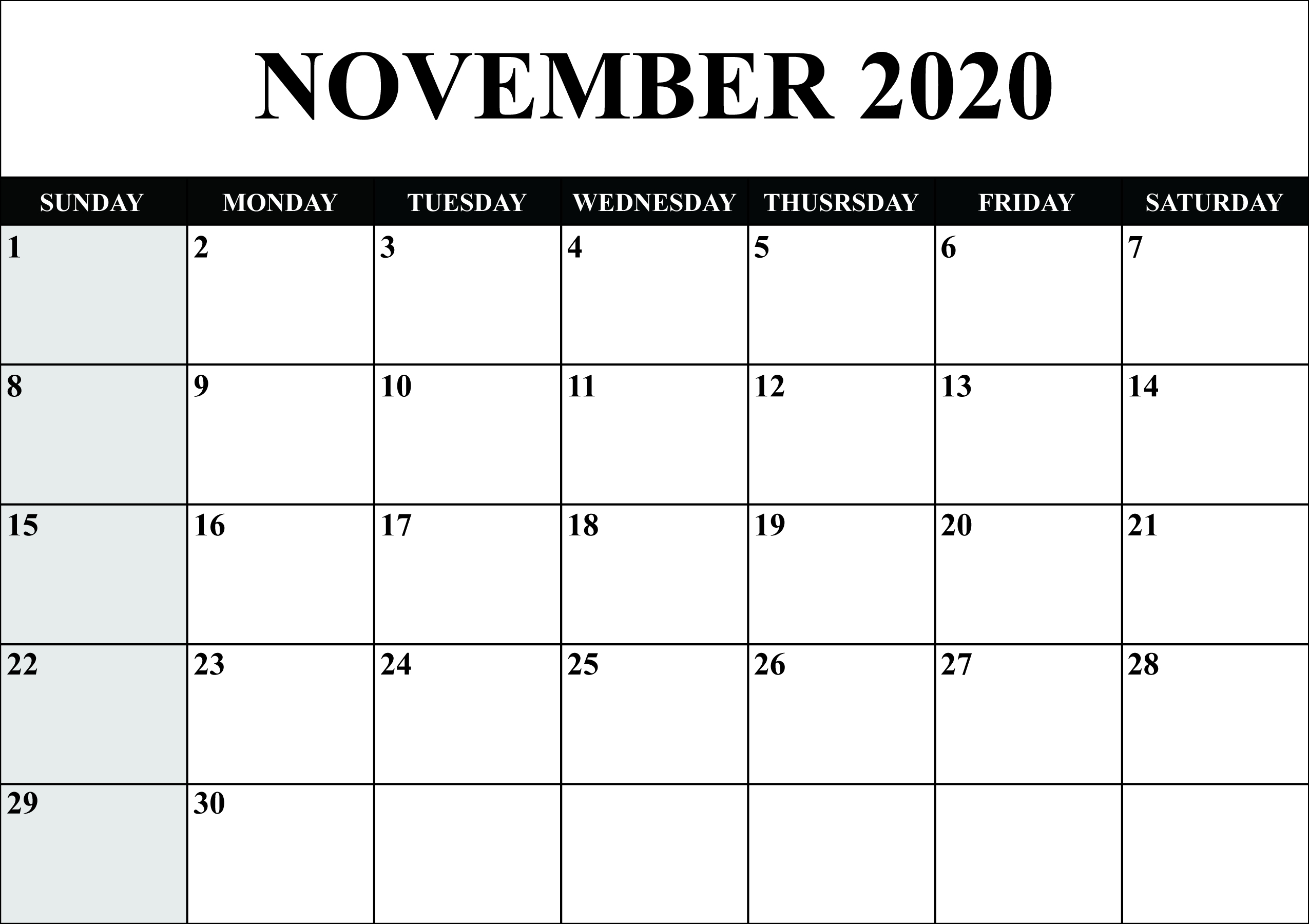 Monthly Calendar 2020 Printable Word | Monthly Calendar