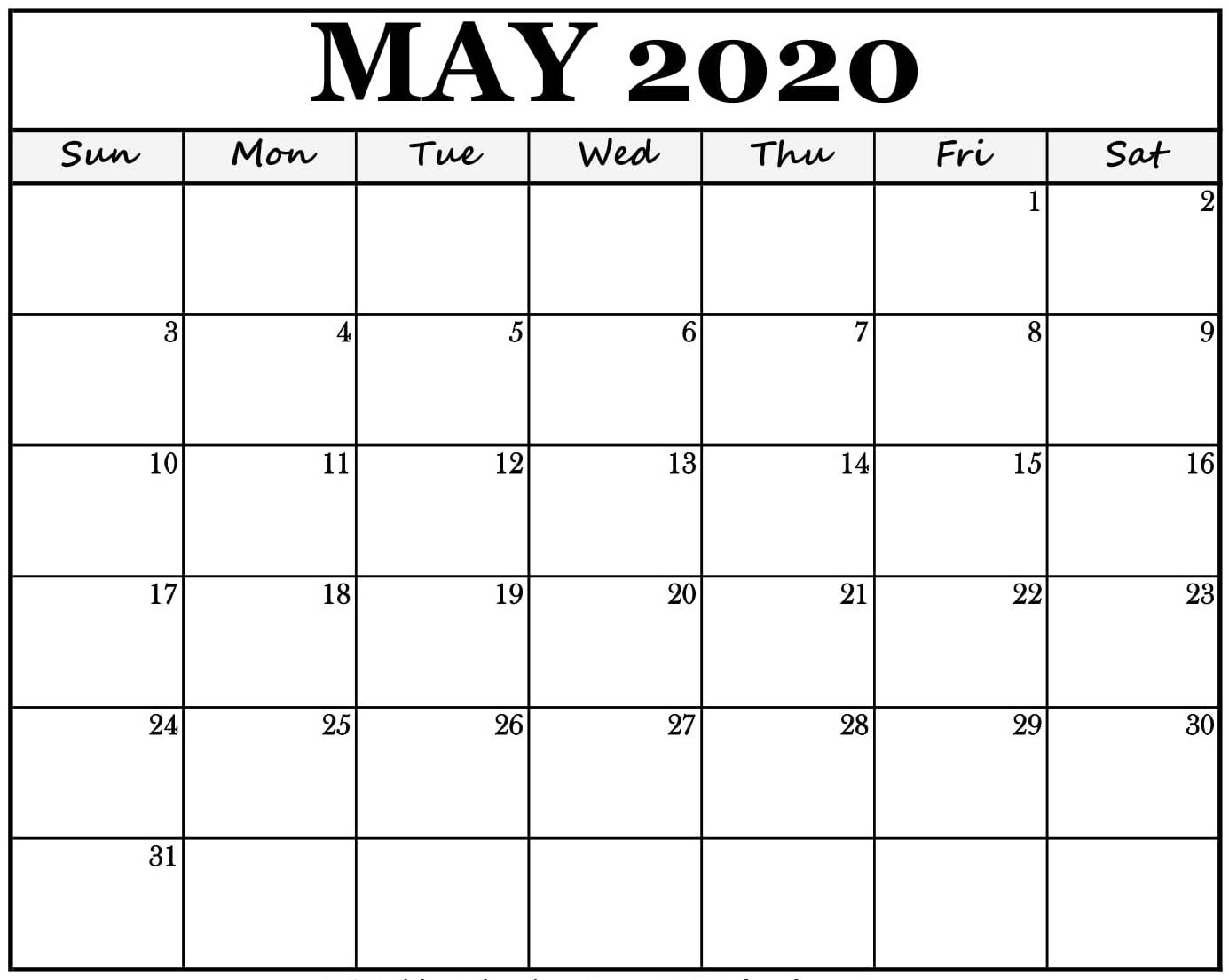 Monthly Calendar For May 2020 Fillable Printable