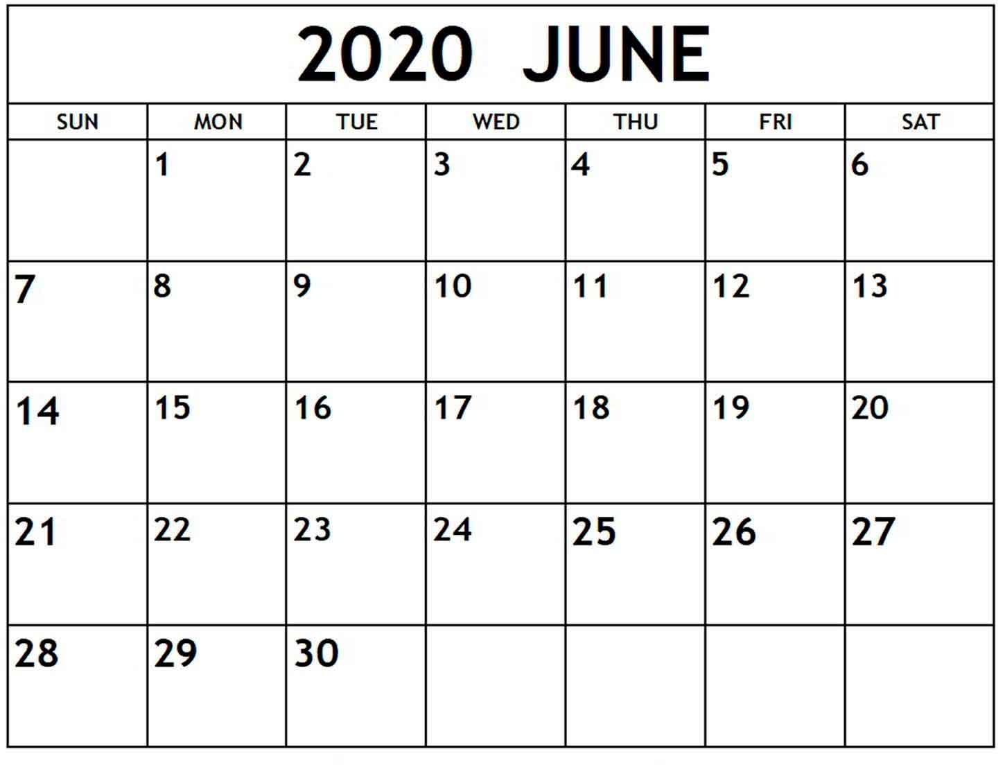 Monthly Calendar June 2020 - Calendar Word