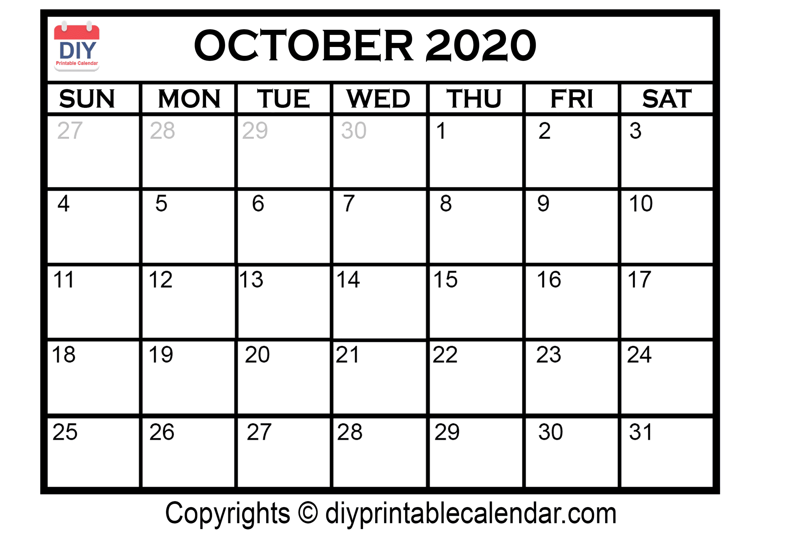 Monthly Calendar October Thru December 2020 | Calendar