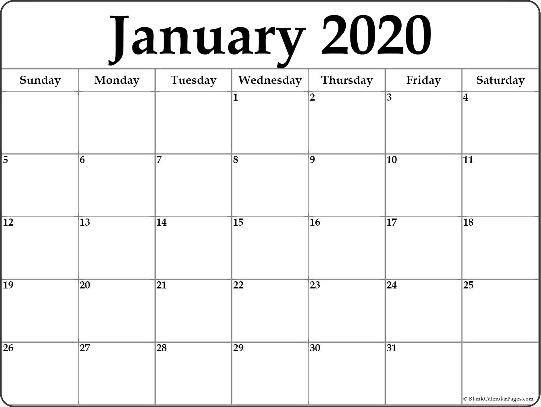 Monthly Calendars 2020 Printable Free 2-Pages Blank