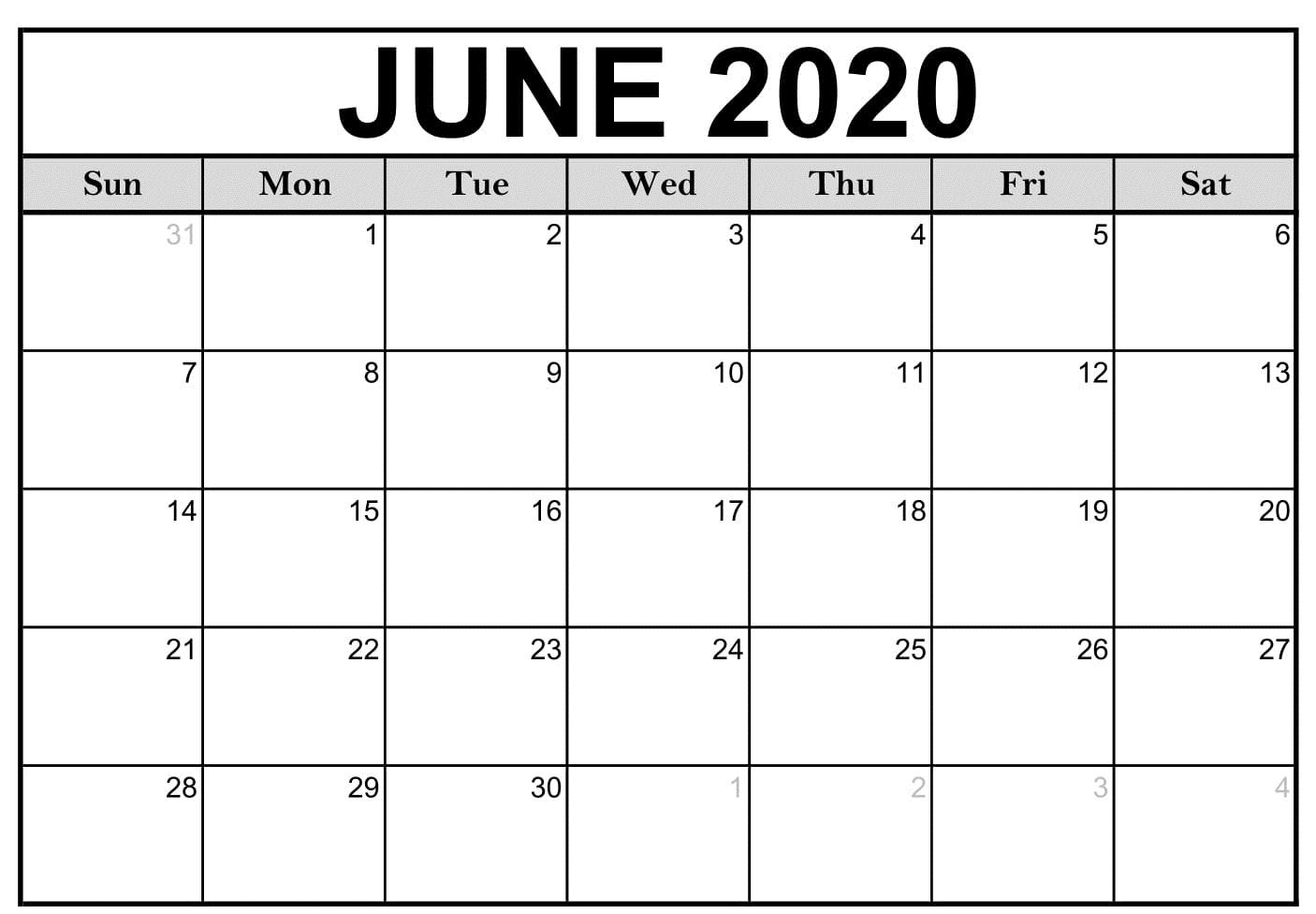 Monthly June 2020 Calendar Printable | Free Printable Calendar