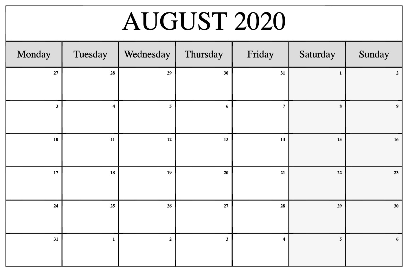 Monthly Planner June July August2020 | Example Calendar
