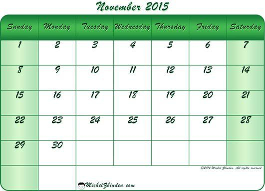 November 2015 Calendar Free Printable (Dengan Gambar)