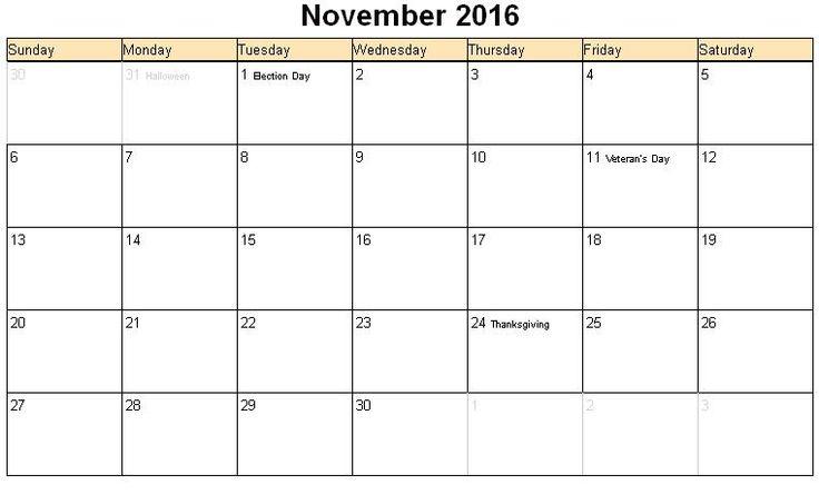 November 2016 Calendar With Holidays - Google Search