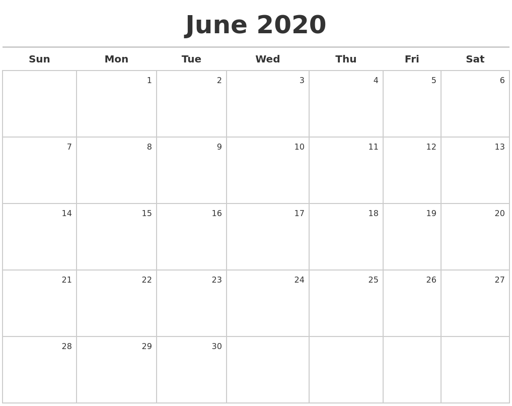 November 2020 Blank Calendar Pages