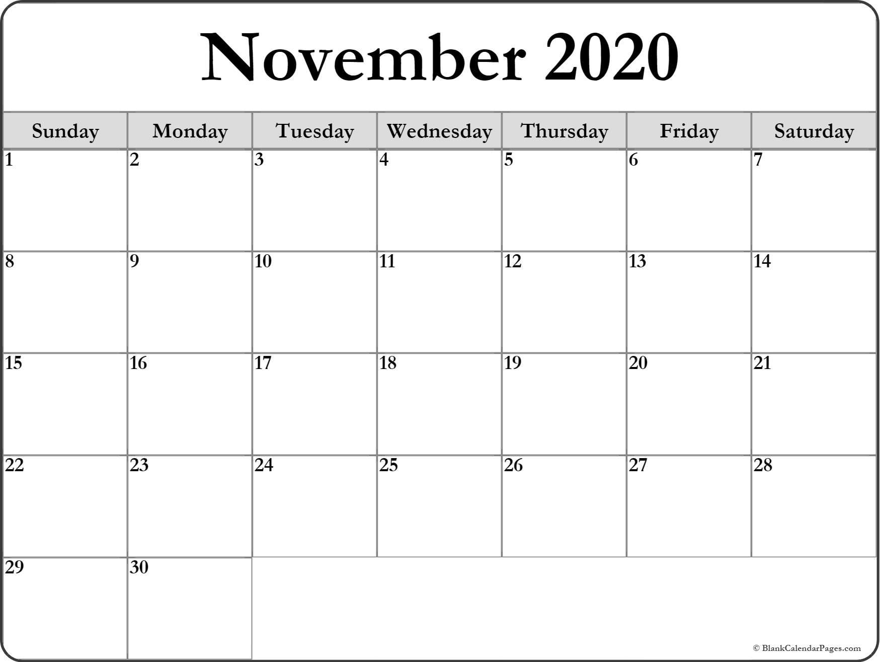 November 2020 Blank Calendar Templates.