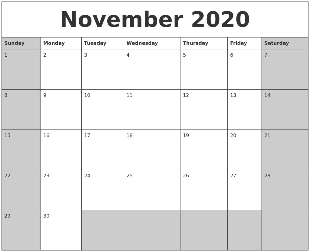 November 2020 Calanders