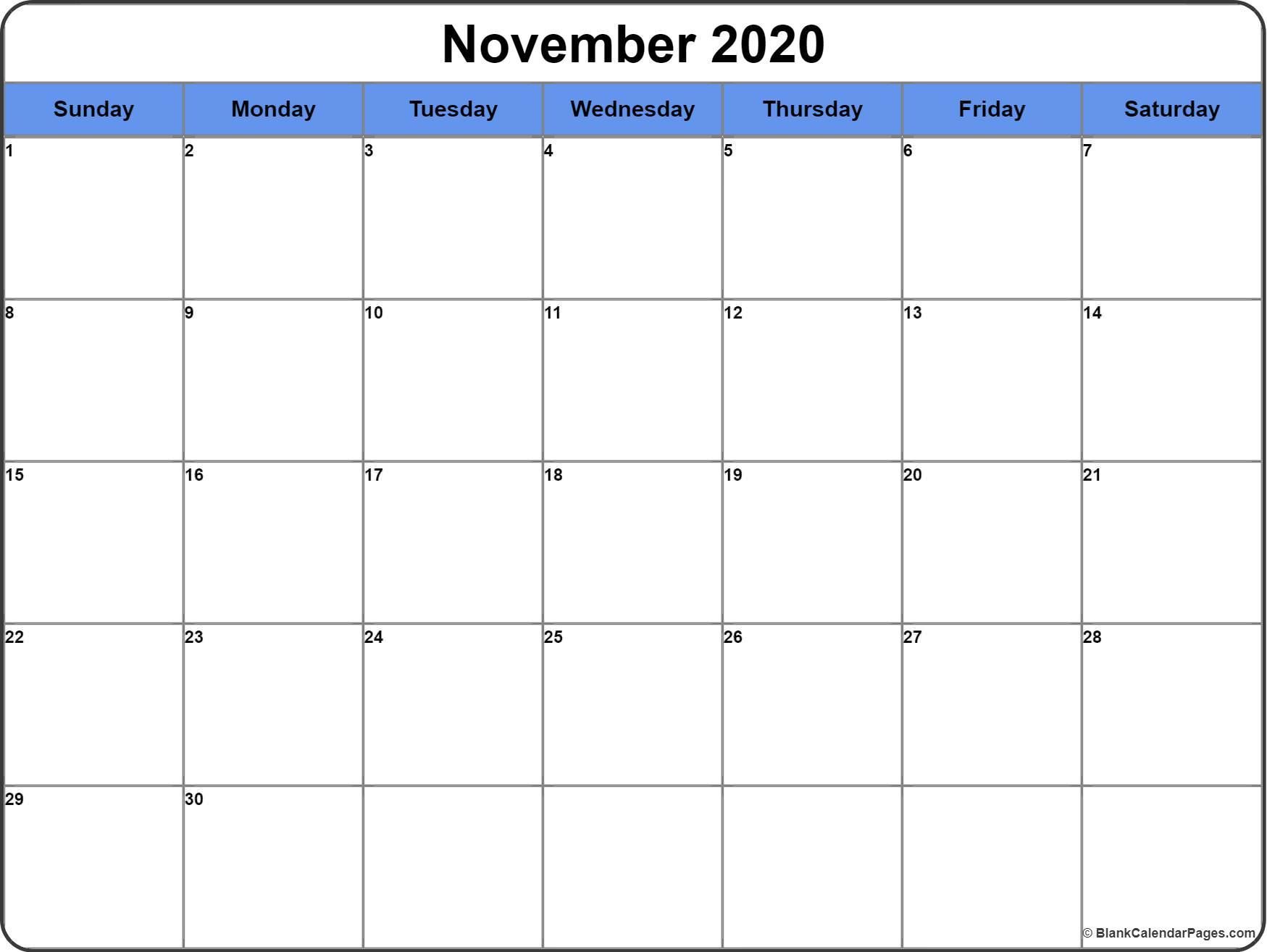November 2020 Calendar | 56+ Templates Of 2020 Printable