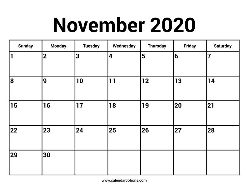 November 2020 Calendar – Calendar Options