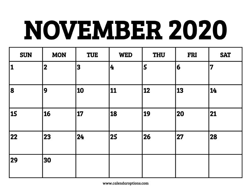 November 2020 Calendar Printable – Calendar Options