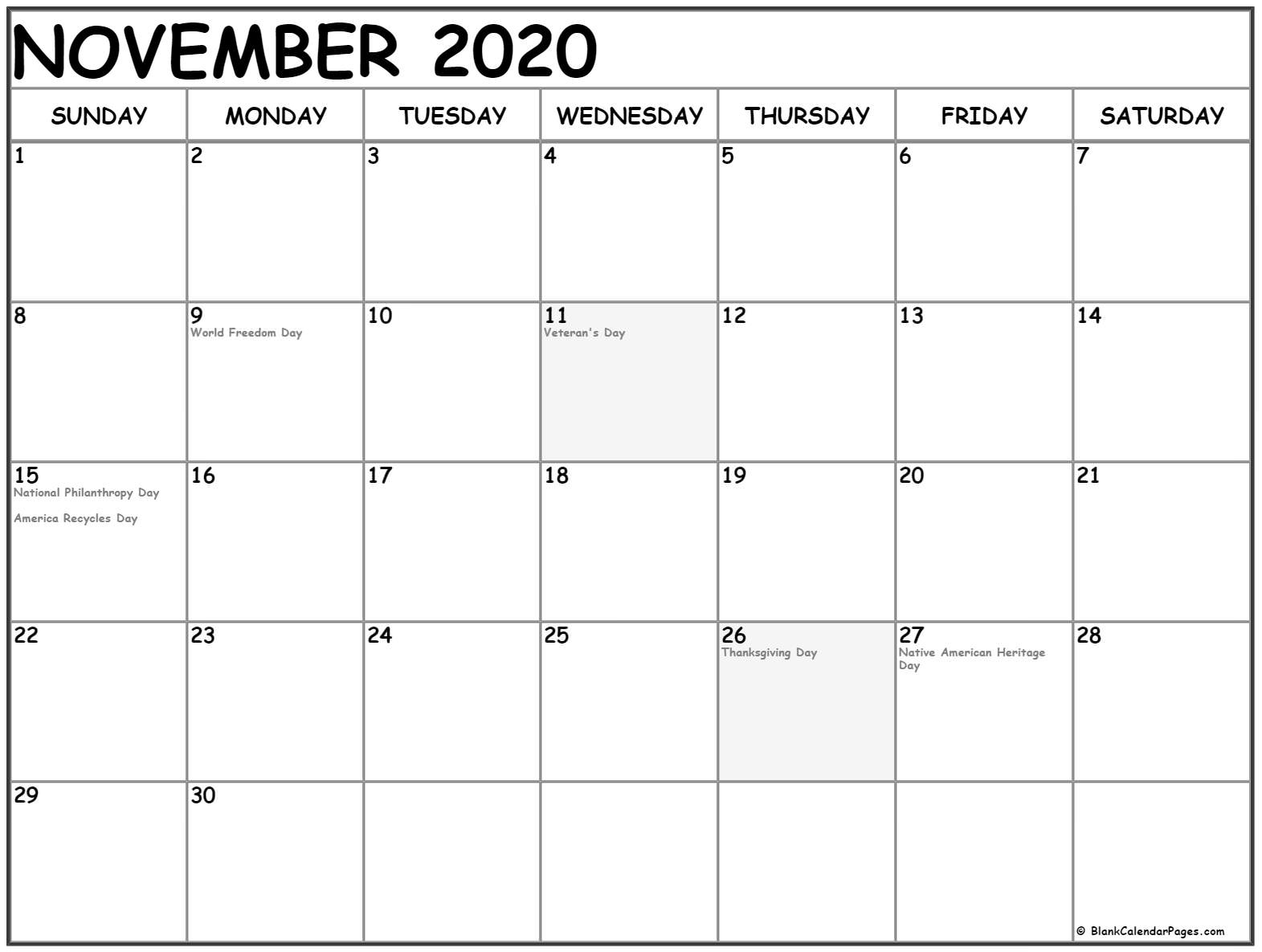 November 2020 Calendar With Holidays
