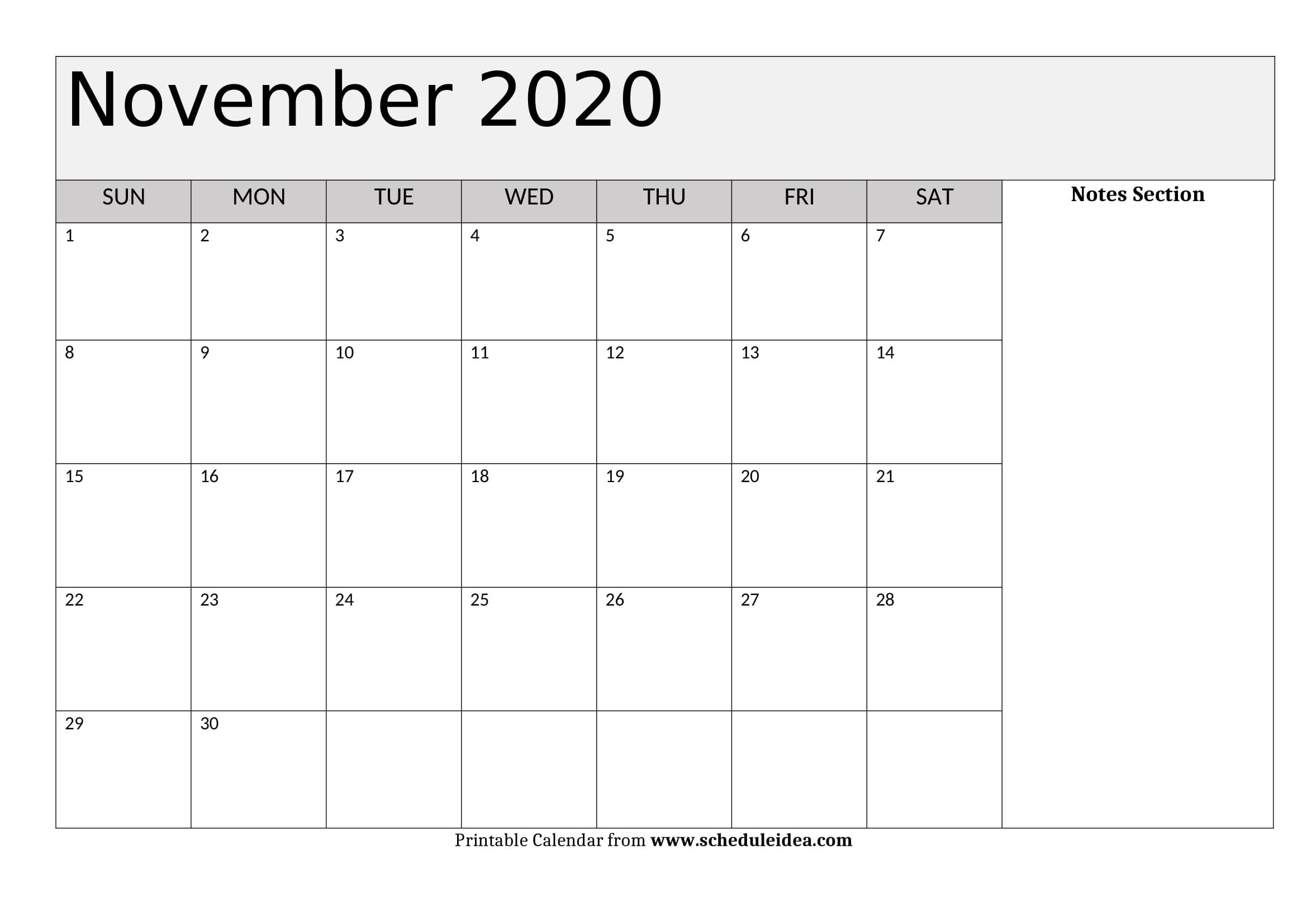 November 2020 Printable Calendar - Editable Templates (Pdf
