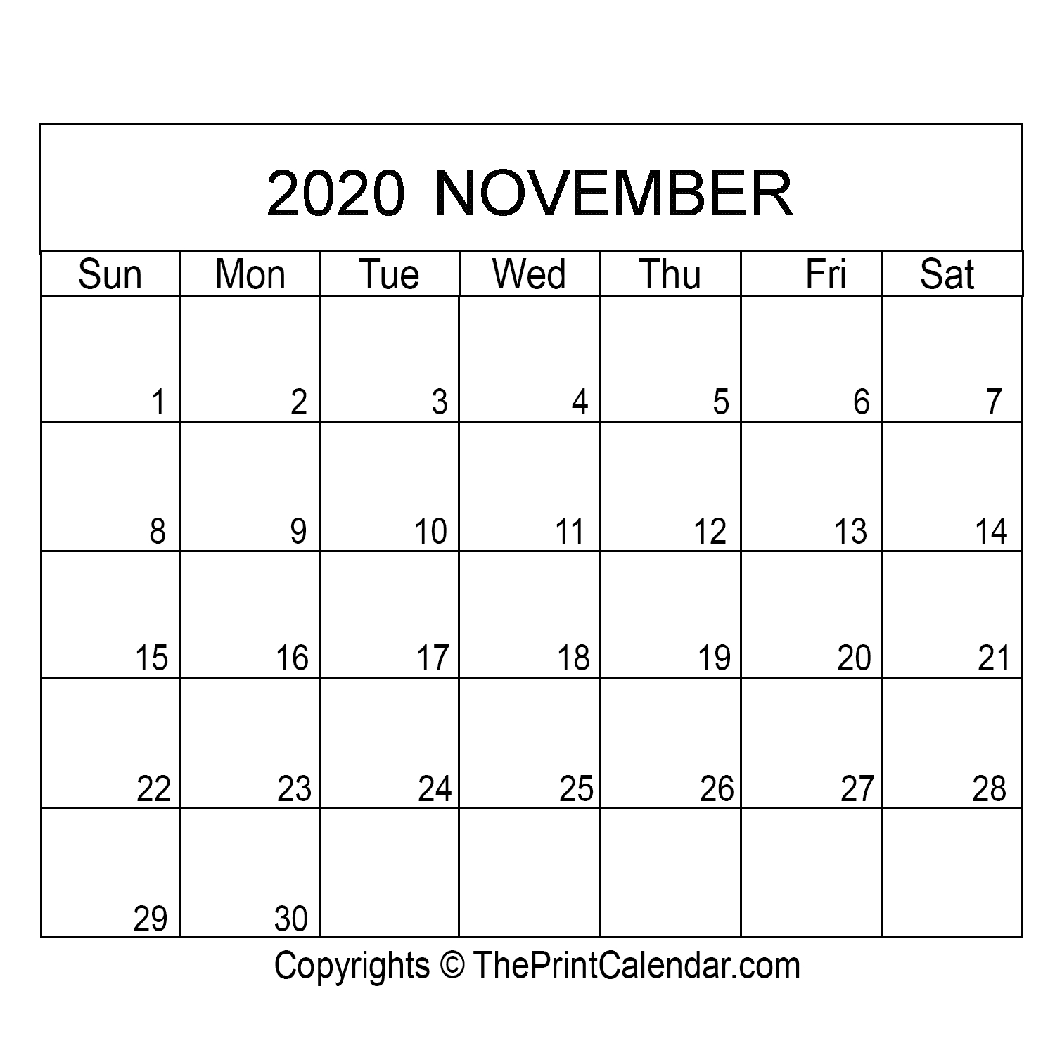 November 2020 Printable Calendar Template [Pdf, Word & Excel]