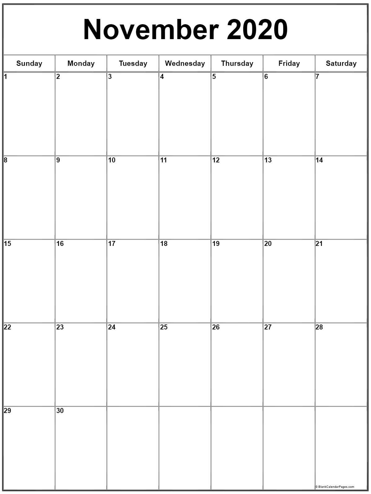 November 2020 Vertical Calendar | Portrait