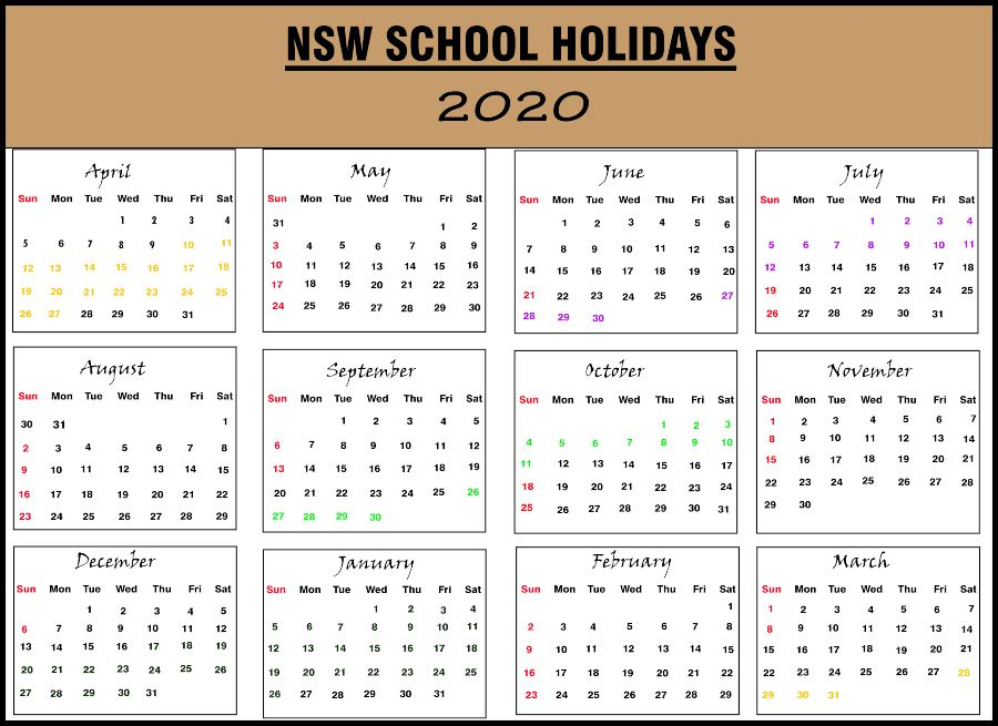 Nsw 2020 School Holidays Calendar Template (New South Wales)
