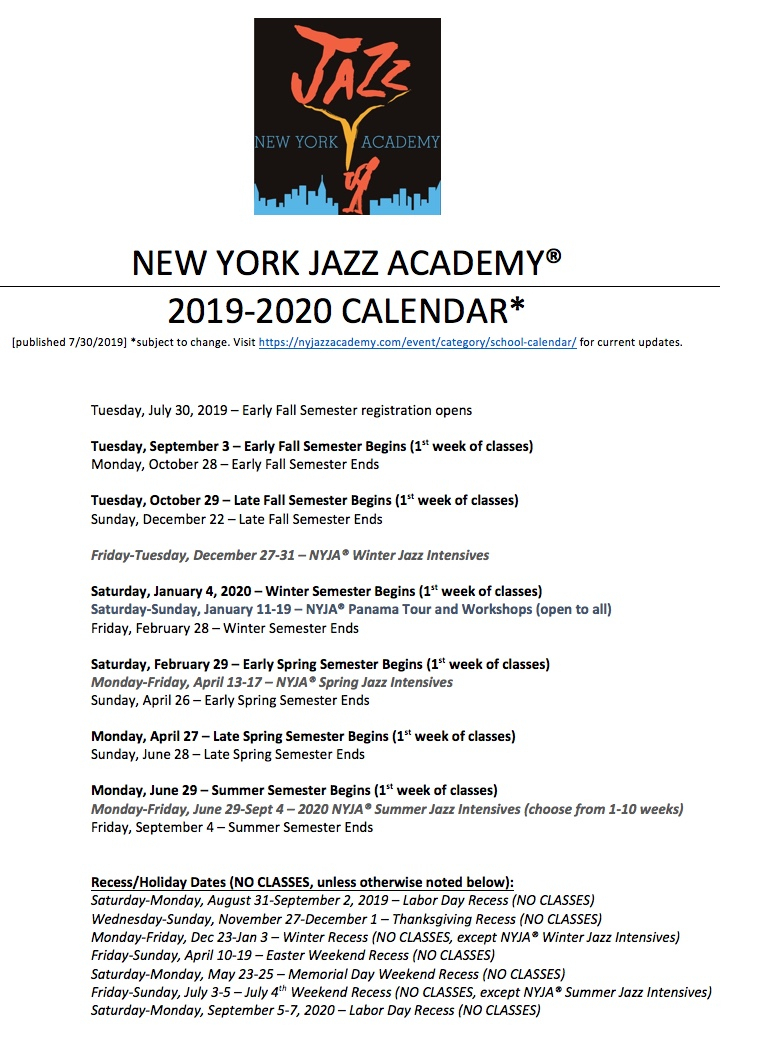 Nyja® School Calendar 2019-2020 [Pdf] | New York Jazz Academy