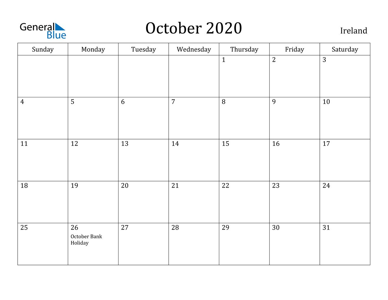 October 2020 Calendar - Ireland