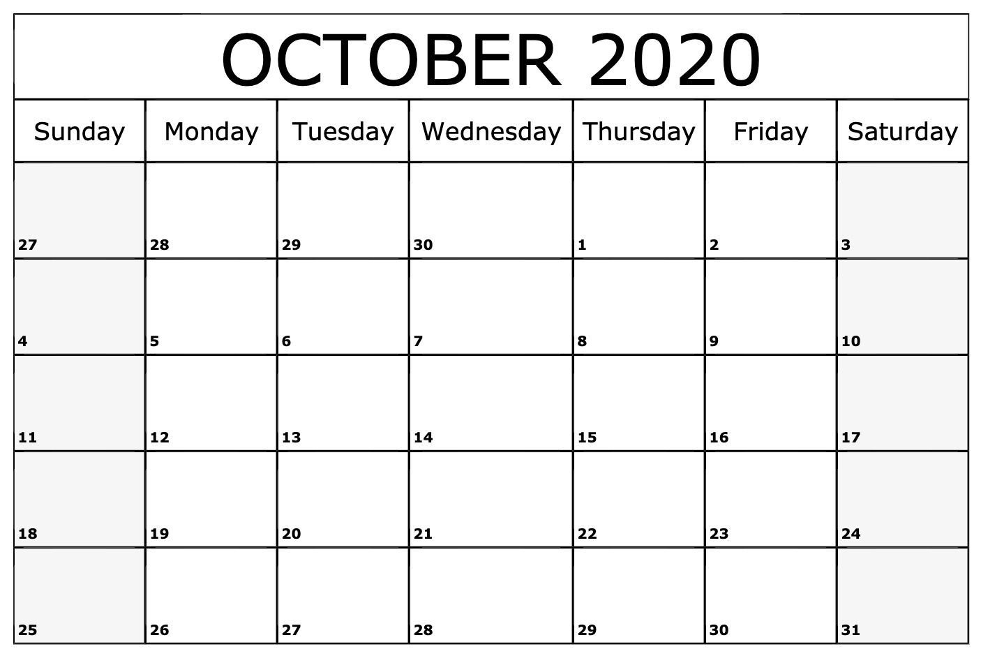 October 2020 Calendar Printable Monthly Templates