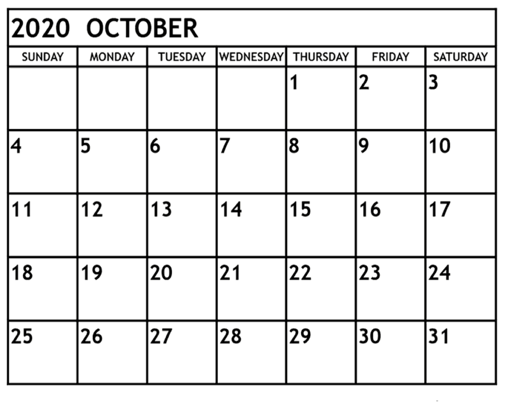 October 2020 Calendar Printable Template - Editable Word