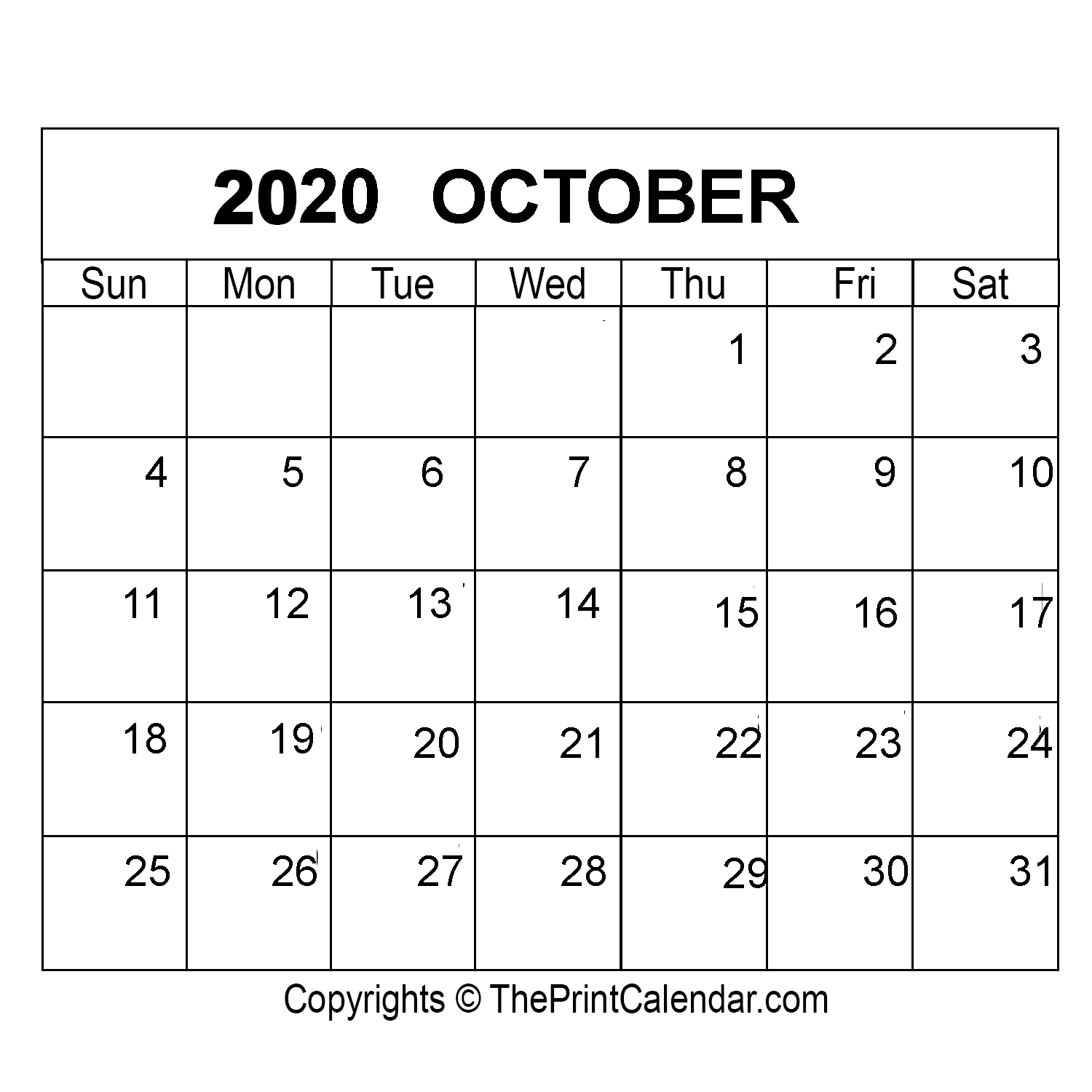 October 2020 Printable Calendar Template [Pdf, Word & Excel]