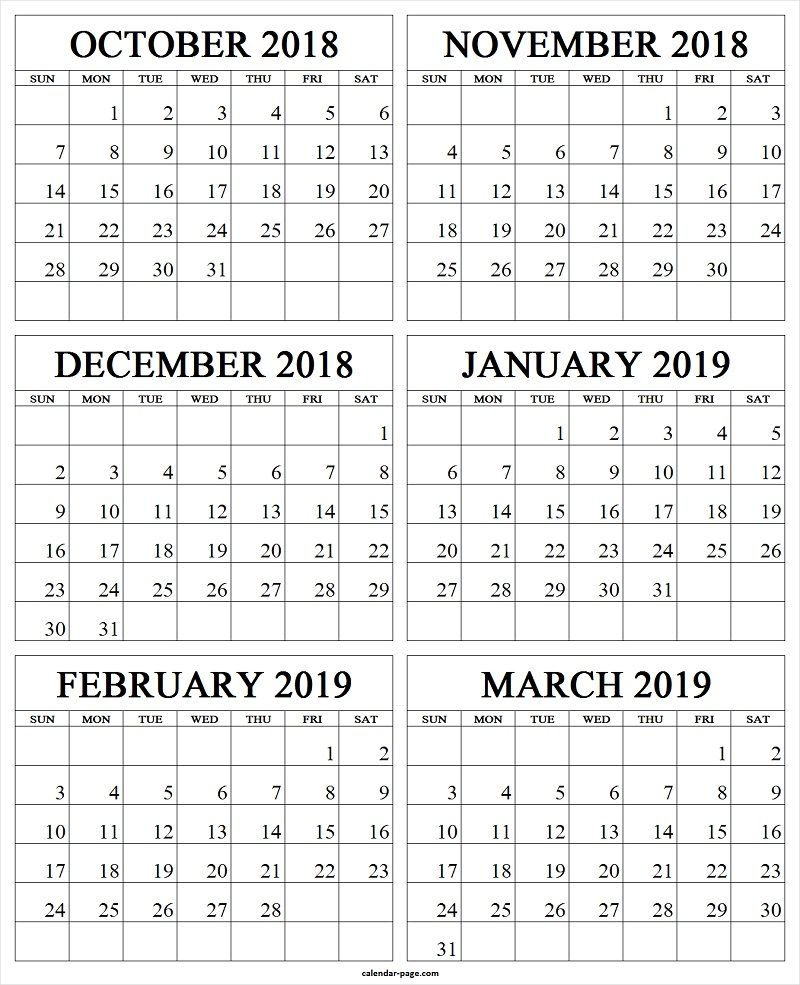 October November December 2018 January February March 2019