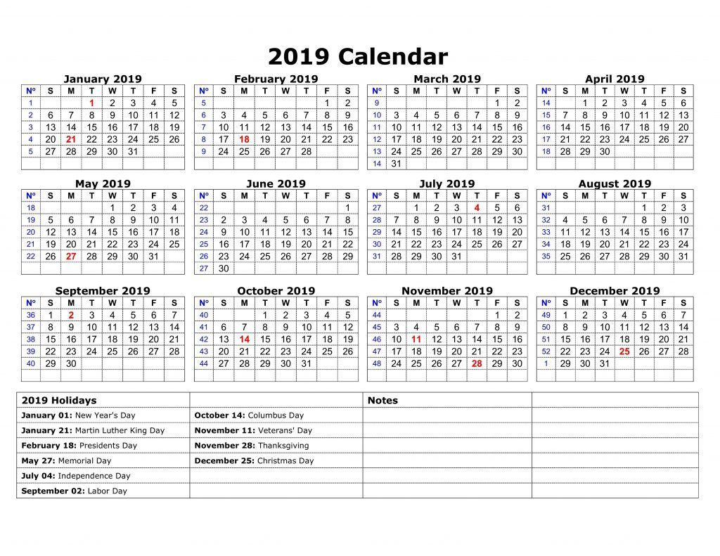 One Page 2019 Printable Calendar With Holidays | Calendar
