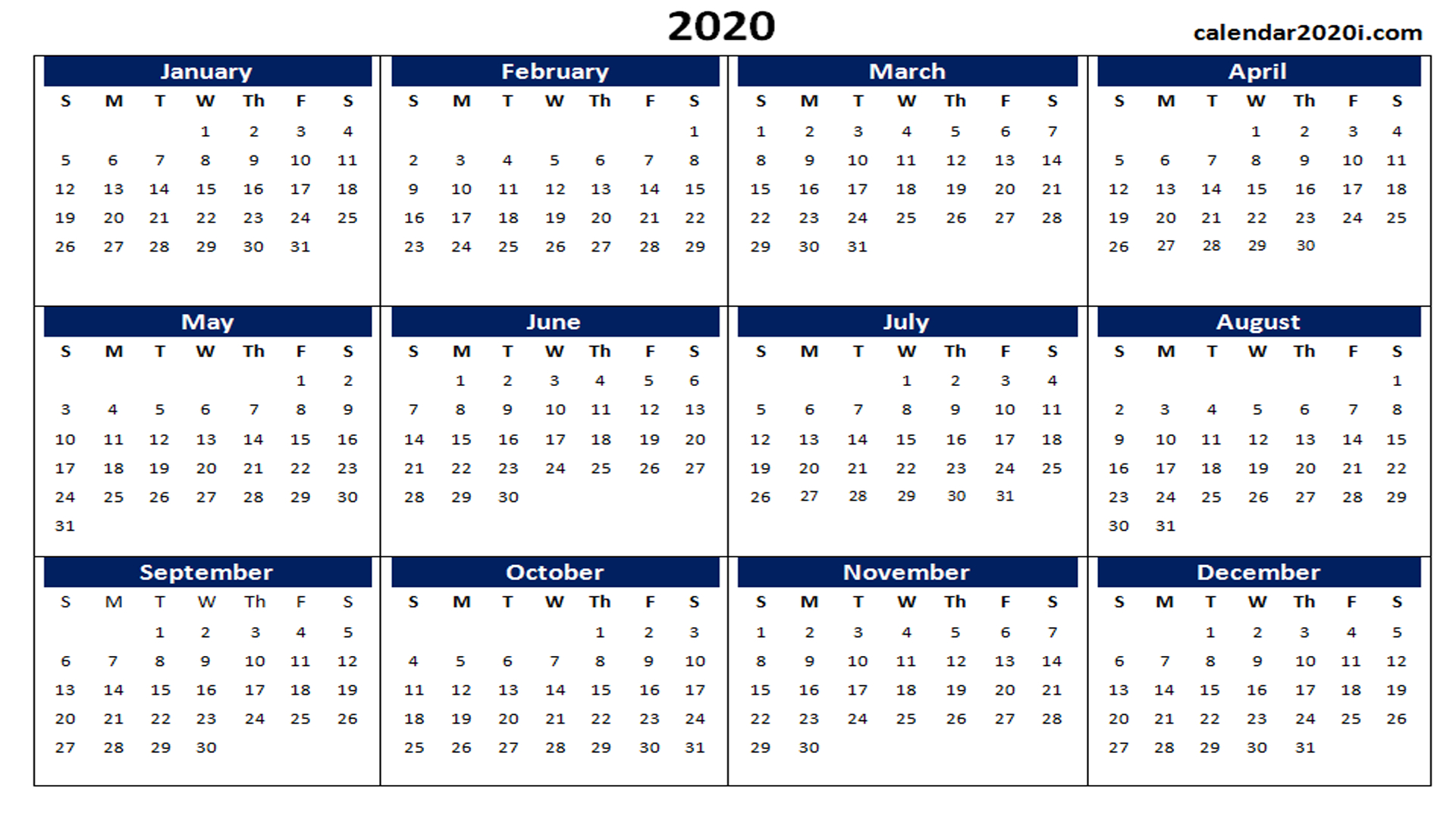 One Page Templates | Calendar 2020