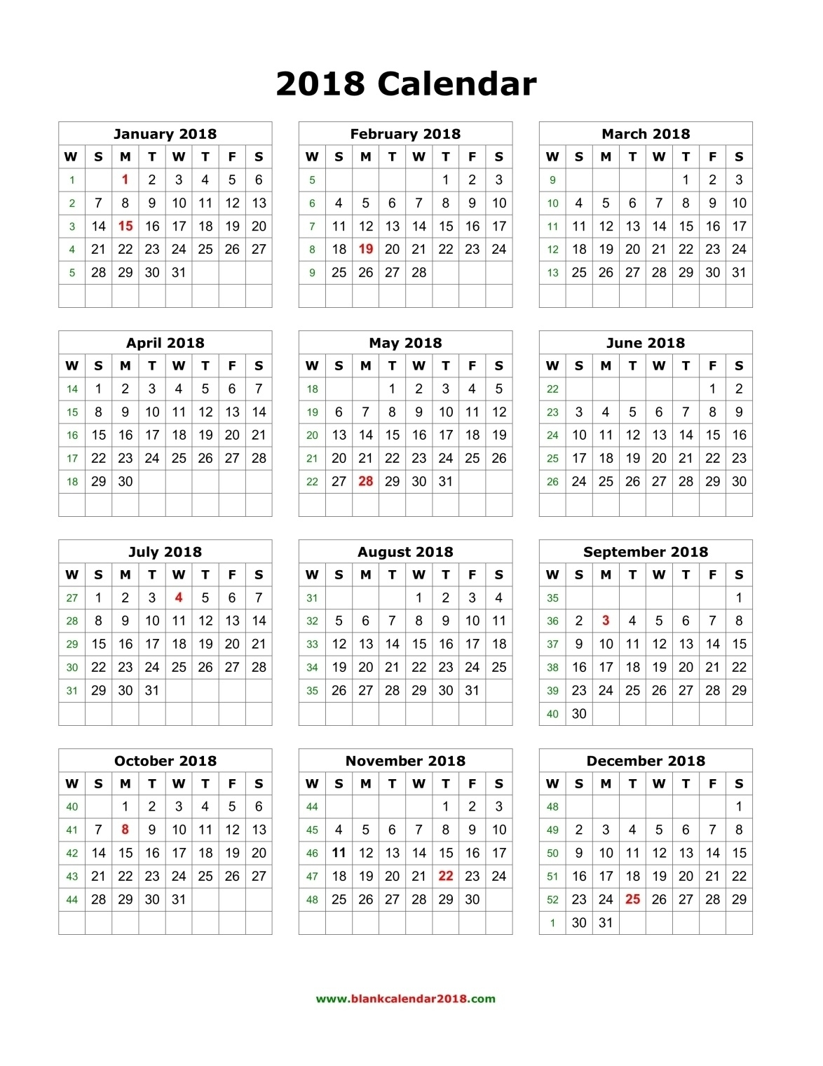 One Page Year Calendar 2018 Printable – Template Calendar