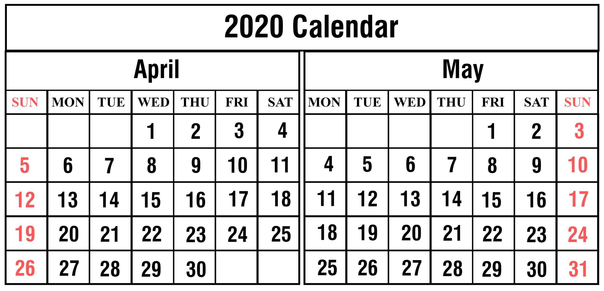 Online April 2020 Calendar - Free Printable Monthly