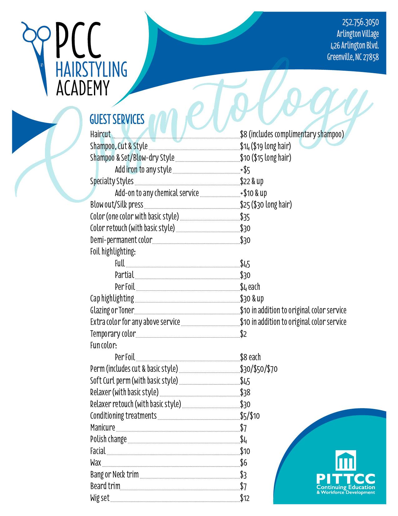 Pcc_Hair_Academy_Services_Spring_2020 - Pitt Community College