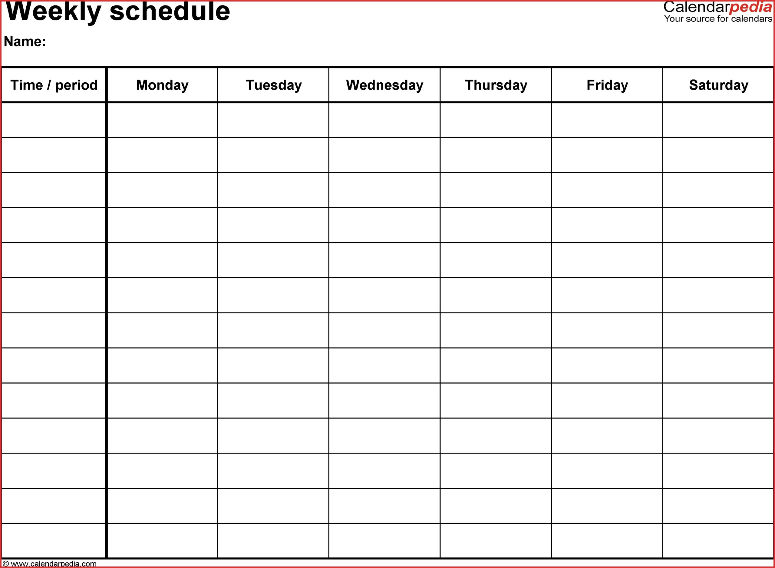 Pick 6 Week Blank Schedule Template ⋆ The Best Printable